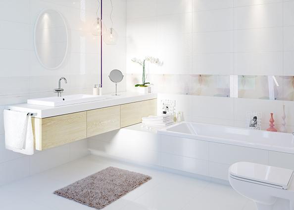 Modna łazienka, biała armatura w łazience, fot.: Cersanit