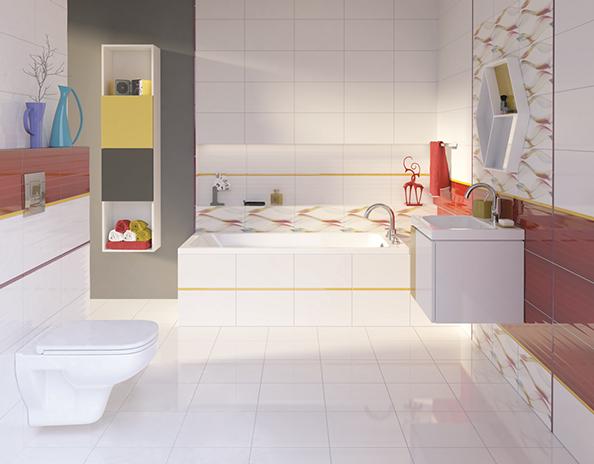 Modna łazienka, ciekawe wzory w łazience, fot.: Cersanit