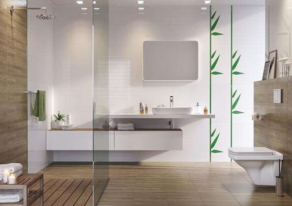 Modna łazienka, drewno w łazience, fot.: Cersanit