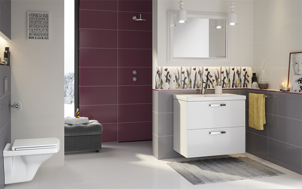 Modna łazienka, intensywne kolory, fot.: Cersanit