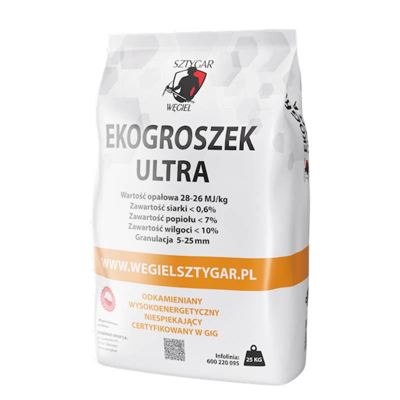 Ekogroszek ULTRA marki WĘGIEL SZTYGAR®. 28-26 MJ/kg, opakowanie 25 kg – dodatkowo oczyszczany z kamieni, ciał obcych i suszony.